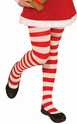 Red and White Striped Child Christmas Candy Cane Tights Size Large 12-14 - Red And White Tights