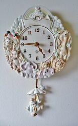 Lenox Noah's Ark Wall Clock w/ Pendulum - Beautiful Baby Girt - New w/ Cute Box