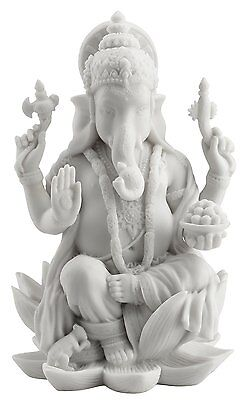 Rare Ganesh Ganesha Hindu Elephant Lord of Prosperity & Fortune White Statue