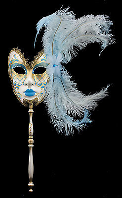 Mask from Venice in Stick Feathers Ostrich Blue Sky-Carnival venitien-1431 TG5