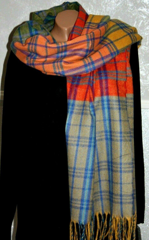 Trendy SCHAL Damen Winter Muster Bunt Safran Tuch Schaltuch Fransen /S142-8