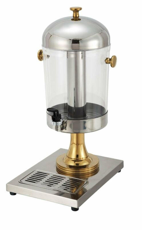 Winco 901, 7.5-Quart, Single Juice Dispenser, Gold Accent