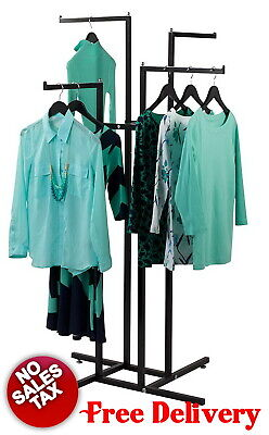 4 Way Clothing Garment Display Rack For Retail Shop Store Heavy Duty Commercial