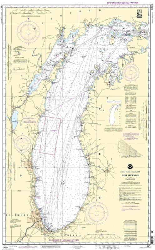 NOAA Chart Lake Michigan (Mercator Projection) 15th Edition 14901