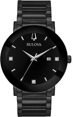 Bulova Men's Futuro Quartz Diamond Accent Black Dial Band 38mm Watch 98D144