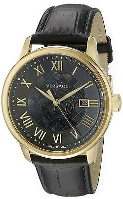 Versace Men's Watch Business IP Gold Black Leather Strap VQS020015