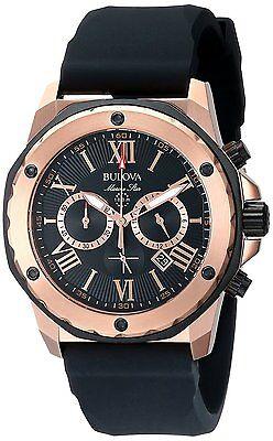 Bulova Men's 98B104 Marine Star Rose Gold Stainless Steel Watch