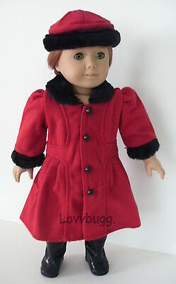 "Red Coat n Hat Set for 18"" American Girl Doll Clothes"
