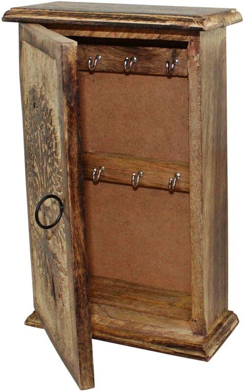 Mango Wood Tree of Life Key Box - 6 Hooks For Keys Storage BOX