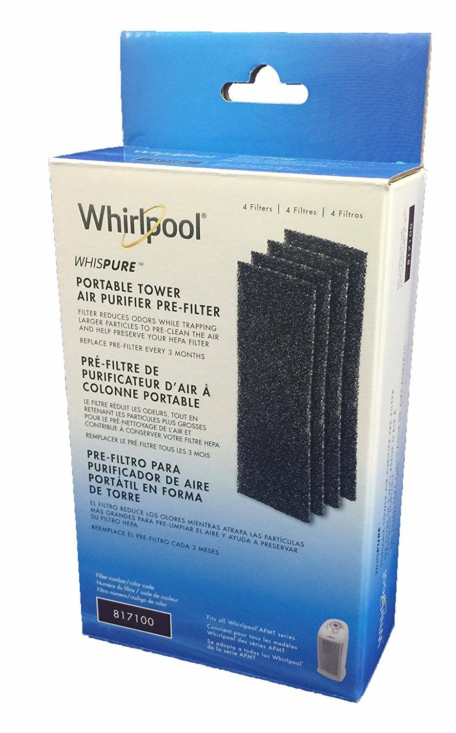 Whirlpool Whispure Portable Tower Air Purifier Pre-Filter, 817100, 4 Ct.