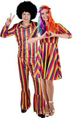 Couples Ladies AND Mens Bright Rainbow Hippie Pride Fancy Dress Costumes Outfits - 1970s Couples Costumes