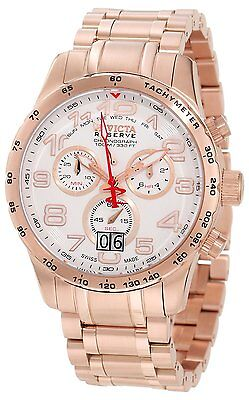 Invicta Mens Reserve Chronograph White Dial 18k Rose Gold Ion-Plated Stainless