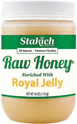 40 oz Royal Jelly Enriched Pure Raw Honey 100% Natural Gluten Free Fresh Potent - Honey Gluten Free