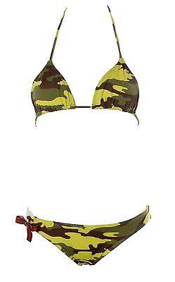 Damen Brasil Triangel Bikini Weiß Grün Camouflage Tribal XS k542