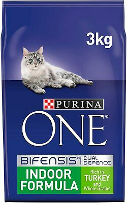 Purina One Indoor Formula Adult Dry Cat Food Complete Turkey & Whole Grain 3 kg