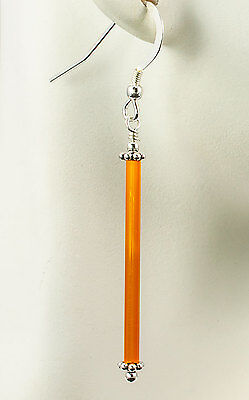 Bright Orange Stick Glass Earrings Bali Sterling Silver Handmade Dangle Drop iDu