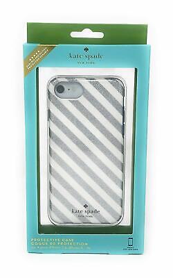 Kate Spade iPhone 7 Plus iPhone 8 Plus Case (Diagonal Silver Cream Stripe/Navy)