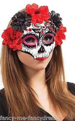 Zuckerschädel Blumenmuster Halloween Kostüm Augen Maske (Halloween Schädel Maske Muster)