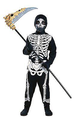 Gr. M SKELETON 5-7 J. Skelett Zombie Horror Halloween Kinder Jungen Kostüm 0768