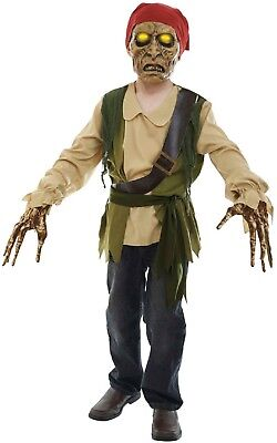 Pirate Dress Up For Boys (Kids Boys Girls Light Up Zombie Pirate Halloween Fancy Dress Costume Outfit)