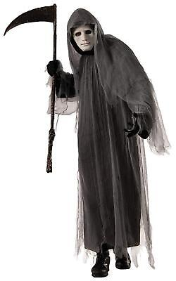 Grey Ghoul Grim Reaper Gothic Scary Robe Fancy Dress Up Halloween Adult - Halloween Forum Grim Reaper