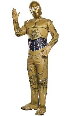 3po Costume (C-3PO Star Wars Classic Gold Droid Robot Fancy Dress Up Halloween Adult)