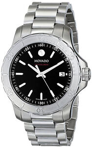 New Movado Series 800 Black Dial Stainless Steel Bracelet Men's Watch 2600115 available at Ebay for Rs.66634