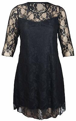 Ladies Plus Size Floral Pattern Dresses Womens Lined 3/4 Sleeve Stretch Dress