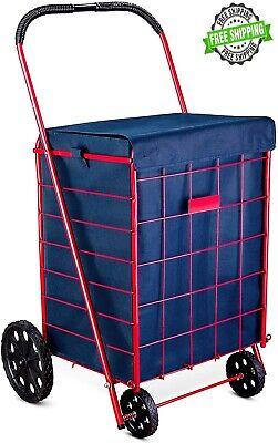 Shopping Cart Liner Folding Grocery Laundry Bag Jumbo Basket Rolling Utility New