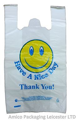 100 SMILEY CARRIER BAGS PLASTIC VEST STRONG 12