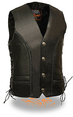 Mens Braided Side Lace Vest with Buffalo Nickel Snaps & Gun -