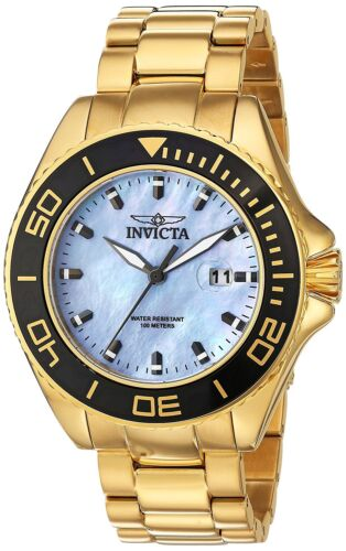 Invicta 23071 Men's Pro Diver 18K Gold Plated SS Light Blue