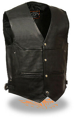 Mens Deep Pocket Motorcycle Vest with Side Buckles Concealed Gun Pockets - Mens Deep Pocket