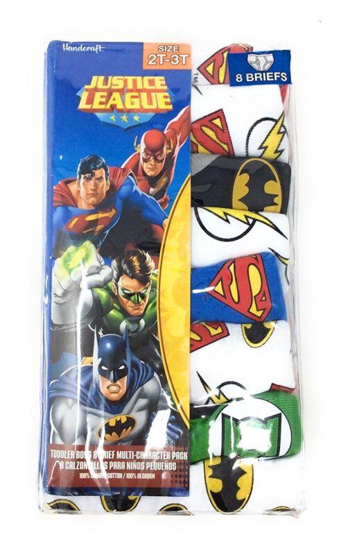 Justice League Boys Cotton Briefs 8 Pack Underwear Toddler Size 4T