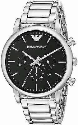 Emporio Armani Men's AR1894 Classic Chronograph Black Dial Stainless Steel Watch