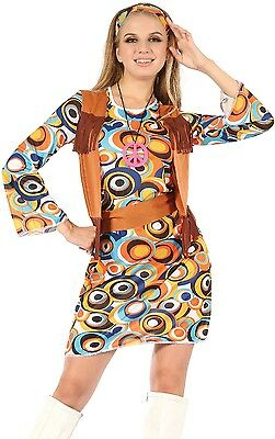 Ladies 4 Piece 1960s 1970s Groovy Hippie Hippy Mod Fancy Dress Costume Outfit
