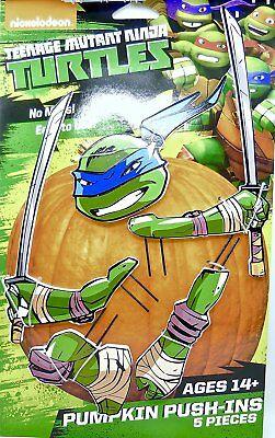 Teenage Mutant Ninja Turtles Leonardo 5 Piece Wooden Pumpkin Push In Set](Ninja Turtle Pumpkin)