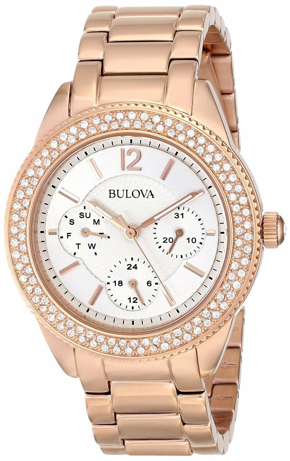 Bulova women 39 s 97n101 quartz swarovski crystal dial rose gold dress watch ebay for Crystal watches