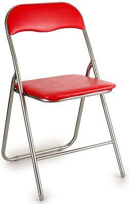 Silla Plegable Rojo PVC Limpiar Abajo Asiento Acolchado Plegable Jardín Silla