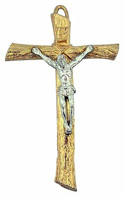 Gold Tone Log Pectoral Cross Crucifix with Silver Tone Christ Corpus, 4 1/2 Inch