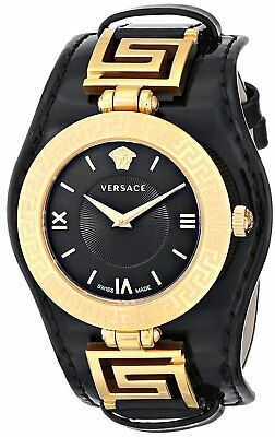 Versace Womens Vla020014 V Signature Analog Display Swiss Quartz Black Watch