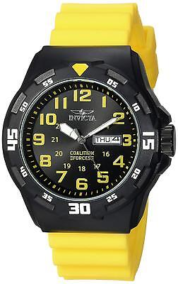 Black Rubber Watch - Invicta 25328 Coalition Forces Men's 45mm Black ABS Yellow Rubber Watch