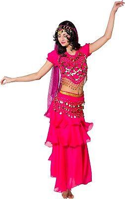 Damen Traditionell Pink Arabisch Jasmin Bauchtänzerin Kostüm Kleid Outfit