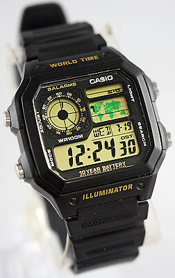 Casio Ae1200wh 1Bv Mens Digital Watch 4 World Time Zones Display 5 Alarms New
