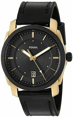 Fossil Men's Mechanism FS5263 42mm Gold-Tone Stainless Brace Leather  Watch