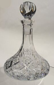 Hand Cut 24% Lead Crystal Mini Ships Decanter 1/8 Litre Capacity