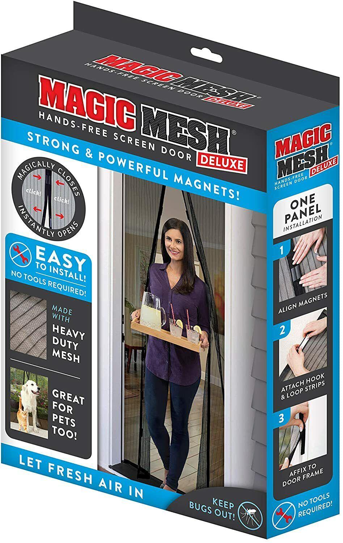 Magic Mesh Deluxe Hands Free Magnetic Screen Door 83″ x 39″ Black Building & Hardware