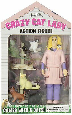 Crazy Cat Lady Actionfigur Unikat Geschenk Neuheit Kätzchen Liebhaber Lustiges