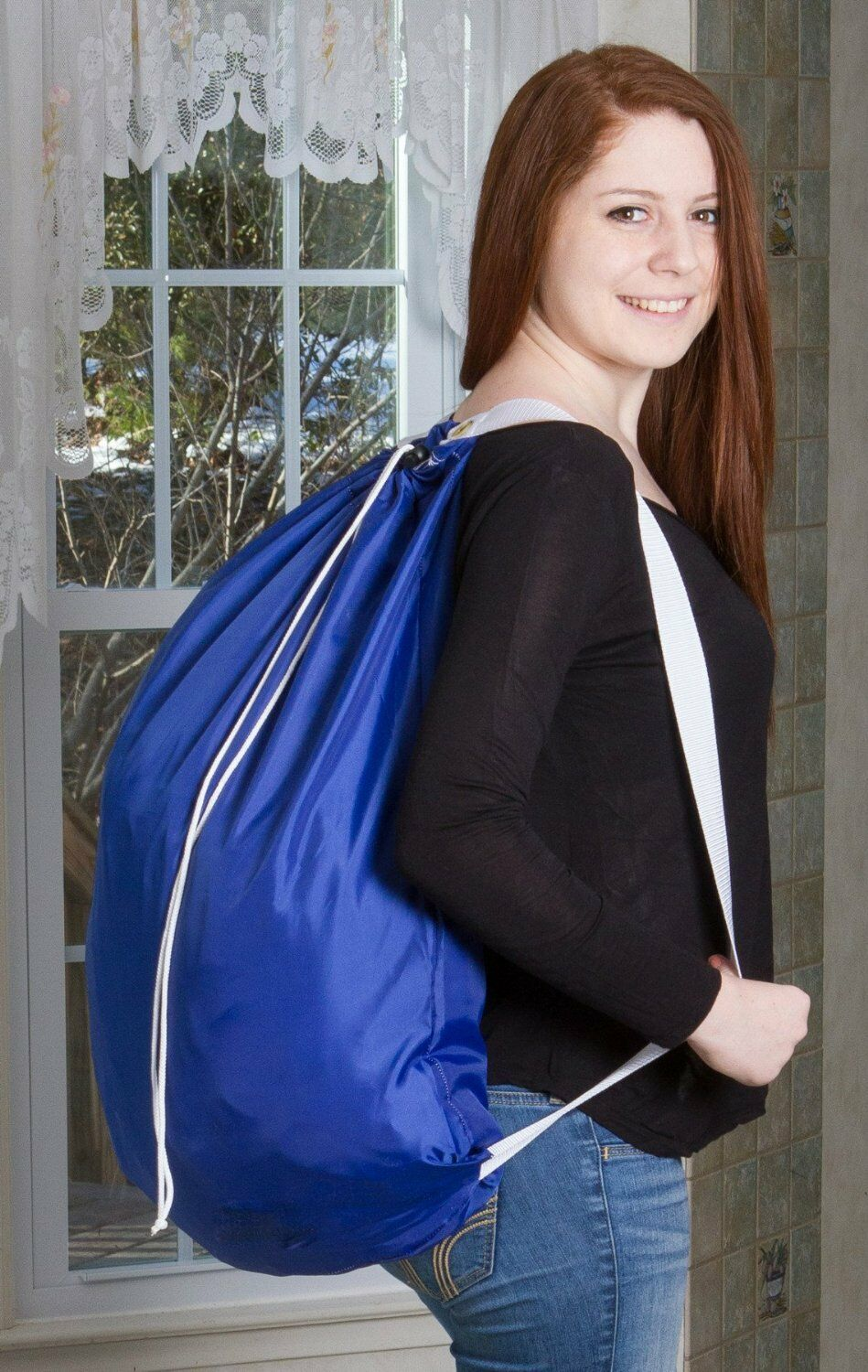 Backpack Laundry Bag - Durable Nylon Material - Two Shoulder