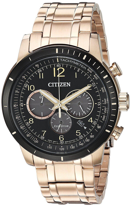 Citizen Brycen Eco-Drive Men's Chronograph Rose Gold-Tone 44mm Watch CA4359-55E
